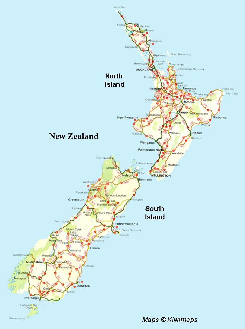 Map of New Zealand New Zealand Maps